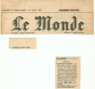 MICHEL SOGNY PRESSE LE MONDE 1984