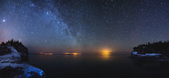 Indian Head Cove Panorama (Cale Best Photography) Tags: ca nightphotography winter panorama snow ontario canada cold ice nature stars landscape nationalpark space georgianbay astrophotography alberta grotto brucepeninsula tobermory milkyway indianheadcove improvementdistrictno9