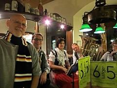 2016-031652 (bubbahop) Tags: friends dinner scarf germany restaurant head shaved bald band jacket regensburg oompah gct 2016 grandcircle altelinde bubbahop europetrip33
