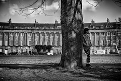 The girl by the tree (Daz Smith) Tags: city uk portrait people urban blackandwhite bw streets tree blancoynegro girl monochrome canon blackwhite bath candid citylife thecity streetphotography royalcrescent canon6d dazsmith bathstreetphotography