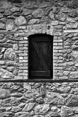 Window in black and white by ioanna papanikolaou (joanna papanikolaou) Tags: old blackandwhite bw house building brick home monochrome outdoors countryside exterior village stones antique traditional nobody structure cobblestone greece textured prespes