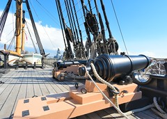Naval cannon (gillybooze) Tags: sky weather clouds ship navy deck cannon mast ropes rigging hmsvictory navalhistory allrightsreserved blocktackle