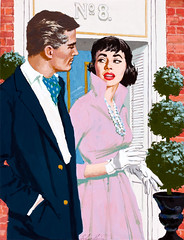 A Conversation by Jim Schaeffing, circa 1950 (Tom Simpson) Tags: woman man sexy girl illustration vintage painting lips 1950s purpledress aconversation jimschaeffing