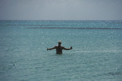 Bob enjoying a cold one while swimming - Barbuda (hedonism1) Tags: hedonism bobmackie hedonism1 lauriemackie