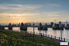 Thames Barrier (Adam Campbell-Price) Tags: park sunset england canada flower london nature weather thames skyline clouds river square one unitedkingdom architectural wharf gb barrier canary canarywharf shard riverthames thamesbarrier recreational onecanadasquare