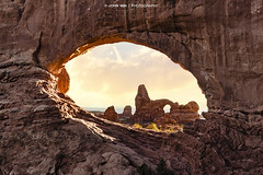 Double Window (Johann Winterholler Fotografie) Tags: light sunset usa mountain rock stone landscape sandstone arch archesnationalpark goldenlight northwindow turretarch naturalarch windowssection naturalwindows