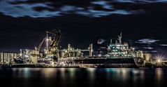 Port at Night (Explored 13-4-2016) (mcalma68) Tags: longexposure water amsterdam night clouds port ship harbour sonyalpha7ii