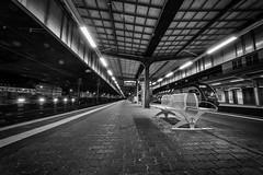 at the station III (Zesk MF) Tags: bw white black lines night train bench lights nikon tripod tracks sigma db line mf 8mm bahn leading trier nachts zesk