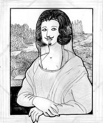 Maruja Mallo meets L.H.O.O.Q. (pencil + ink) (Loony Rotten) Tags: pencil design sketch comic diseo duchamp boceto lpiz mallo lhooq maruja rotulador cmic tfm penbrush