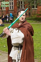 IMG_8950 (Neil Keogh Photography) Tags: fiction red brown white black anime green silver comics grey starwars belt beige pants robe top films science videogames button jedi sword scifi cape sciencefiction lightsaber buckle jediknight starwar jedimaster nwcosplayeastermeet2016