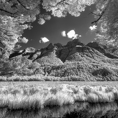 Mirror Pools (shaunyoung365) Tags: new trees mountain lake mountains zeiss landscape ir zealand