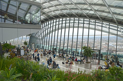 Sky Garden, London (Vladimir Yaitskiy) Tags: city uk sky people panorama green london glass caf beautiful architecture skyscraper garden cafe amazing arch unitedkingdom terrace interior balcony tourist tourists indoors greenery hdr skygarden leadenhall skybar topfloor