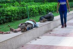 Too Much to Dream (Mondmann) Tags: street travel sleeping india men asia delhi streetphotography pedestrian dirty diagonal sidewalk barefoot newdelhi southasia dirtyfeet sleepingmen mondmann ihadtoomuchtodreamlastnight canonpowershotg7x