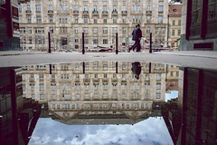 Jzsef ndor tr (kareszzz) Tags: street people urban reflection building architecture reflections puddle spring hungary budapest april 1855 clerks clerk 2016 nex3 sonynex3