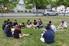 BW20160421-031.jpg (Menlo Photo Bank) Tags: ca people usa girl playground children us spring student books event communityservice francie atherton 2016 upperschool largegroup menloschool classof2019 taftelementary photobybradward