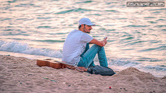 Beach, sunset, guitar and him (Snap) Tags: sunset sea portrait people male beach fashion bag person guitar outdoor jeans kuwait q8