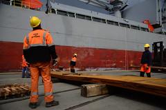 Loading steel sheet (larry_antwerp) Tags: sunshine port ship belgium belgi vessel antwerp  antwerpen longshoreman longshoremen  dokwerker schip docker                            9393632