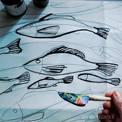 making_of_Fruehlingspost2016_0975.jpg (KristinaMariaS) Tags: screenprinting patterndesign handprintedfabric fishpattern amliebstenbunt kristinaschaper