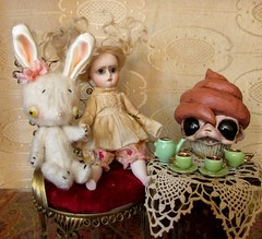 Tea and Cupcake (SJB Dolls) Tags: bunny art doll alice cupcake teaparty myling violetpie absurdery