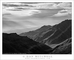 Desert Mountains, Clouds (G Dan Mitchell) Tags: california park sky blackandwhite usa mountains nature monochrome weather clouds america landscape haze north atmosphere front national deathvalley dust range panamint