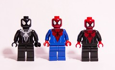 Spider Girls (bravedesign) Tags: man black girl spider amazing lego spiderman may mc2 suit heroes minifigs superheroes custom mayday marvel parker arealight minifigure spidergirl symbiote