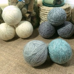 "Our seaglass inspired Farmhouse Laundry Set is taking shape. The sandstone colored wool is felting right now. It looks so lovely with the rocky grey and sea blue wool.   I can't wait to design a basket to coordinate with them so that I can add the set to • <a style=""font-size:0.8em;"" href=""http://www.flickr.com/photos/54958436@N05/23935730123/"" target=""_blank"">View on Flickr</a>"