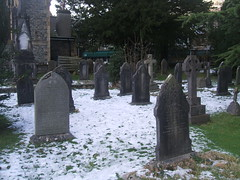 The graveyard at St Andrew's Church Coniston. The artist and writer John Ruskin is buried here. (Bennydorm) Tags: winter snow cemetery grave graveyard headstone tomb tombstone january gravestone neige churchyard coniston standrew lhiver