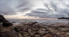 Suppressed fury (JustAddVignette) Tags: ocean morning sea sky panorama cliff seascape beach clouds landscapes early twilight sand rocks waves sydney australia east newsouthwales headland firstlight northernbeaches seawater beforedawn cloudysunrise warriewoodbeach