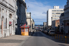 Yellow Kiosk in Punta Arenas, Patagonia, Chile (ChrisGoldNY) Tags: chile street city urban patagonia latinamerica southamerica yellow forsale edificio albumcover kiosk bookcover bookcovers albumcovers kiosks licensing chilean chrisgoldny chrisgoldberg chrisgoldphoto