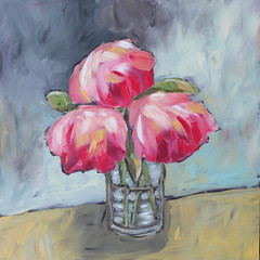 Three Peonies original painting (Art by Trish Jones (theOldPostRoad)) Tags: life road old flowers original flower art painting jones still post trish peony vase whimsical peonies