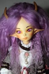 Violet's New Hair (IzabethS) Tags: bjd abjd balljointeddoll mohairwig dollzone diyeyes dragonbjd dollzonehybrid izabeths dollchateauhybrid izasfaceups lutsdress dollzonemoon dzmoon