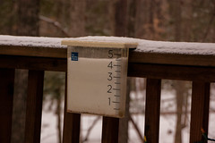 January 2016 Winter Storm - final total (tommaync) Tags: winter white snow storm weather nc nikon outdoor january northcarolina 45 railing gauge winterstorm sleet chathamcounty 2016 d40 45inches