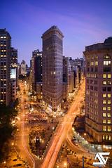 Flatiron Building (A.G. Photographe) Tags: nyc longexposure sunset ny newyork nikon manhattan ag bluehour flatironbuilding flatiron anto xiii 2470 d810 antoxiii agphotographe
