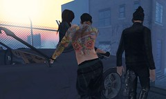 See me ride out of the sunset (drayton.miles) Tags: leather evil sl edward cassie secondlife edgar second biker zero upton middles