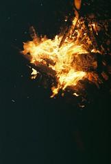 Running Fire (Rachael.Robinson) Tags: winter light canada color film 35mm island fire flames bonfire fujifilm sparks campobello