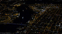 Night over Philly (Greg Adams Photography) Tags: travel bridge winter philadelphia lines night river dark boats lights inflight newjersey pennsylvania camden fromabove pa below philly delaware benfranklinbridge descending 2016 hhsc2000