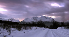 a nightfall in the Arctic region (lunaryuna) Tags: winter sky snow norway season landscape fjord lunaryuna nightfall snowyroad northernnorway ullsfjorden tromsfylke arcticregion lightmood jaegervatnet thecoloursofcold seasonalwonders