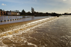 Shiny cascade (Keith in Exeter) Tags: england reflection water river landscape shiny flood outdoor devon exeter foam spill cascade exe churning