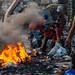 Trash Pickers Burning Garbage, Smokey Mountain, Manila Philippines