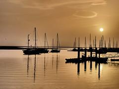 February sunset in Olho (cyclingshepherd) Tags: sunset sun portugal water marina boats golden boat barco glow waterfront barcos sundown yacht yachts algarve february riaformosa olhao olho 2016 pordesol cyclingshepherd