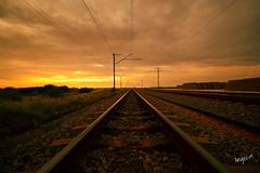 Kalahari Railway (Angel-19) Tags: sunset clouds train canon southafrica tren desert railway via nubes puestadesol kalahari sudafrica bokpoort canon1200d