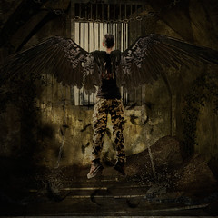 Luis-escape (Roz B) Tags: angel photoshop escape time sureal fineartphotography 30daysofcreativity