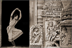 Kirti Ramgopal | Bharatanatyam dancer (Jogesh S) Tags: bw sculpture india heritage canon blackwhite dance culture dancer blended karnataka halebidu bharatanatyam hoysala indiandanceart