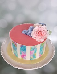 Watercolour cake with gumpaste flowers (ldeandyment) Tags: pink rose cake spring yvr sweetpeas fraservalley gumpaste watercoloureffect customcakesbylori