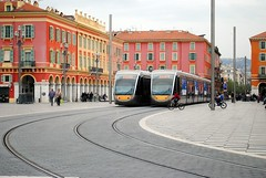 Nice trams in Place Massna (zawtowers) Tags: vacation holiday france square french nice mediterranean riviera break crossing view place no cte wires april trams overhead dazur 2016 unspoilt massna