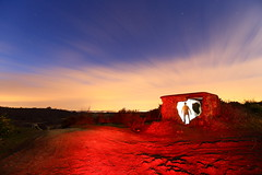 Personal Space (quornflake) Tags: longexposure red sky lightpainting wool clouds dusk sparks
