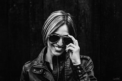 Ray Ban (Marek Lampart) Tags: portrait people blackandwhite bw woman black girl 50mm glasses blackwhite nikon czech natural outdoor background dramatic naturallight cz nikkor ostrava helios d5100 nikond5100