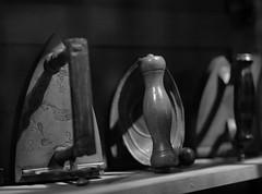 Ironing (pippigar) Tags: city uk england bw london monochrome iron victorian hdr ironing museumoflondon londonwall londonmuseum victorianage oldirons panasonicdmcg6