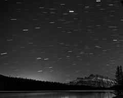 Two Jack Lake (fred.colbourne) Tags: bw canada night stars alberta banff startrails banffnationalpark twojacklake