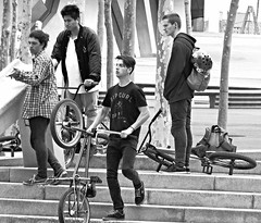 Riders (Eric_G73) Tags: street people blackandwhite bw boys bicycle bmx noiretblanc candid young streetphotography teenagers teens streetlife nb youngpeople riders candidphotography walkbyshooting